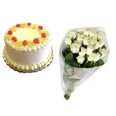 Pineapple Cake with White Rose