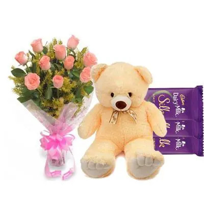 Pink Roses Bouquet with Dairy Milk & Teddy