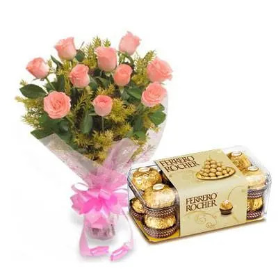 Pink Roses with Ferrero Rocher