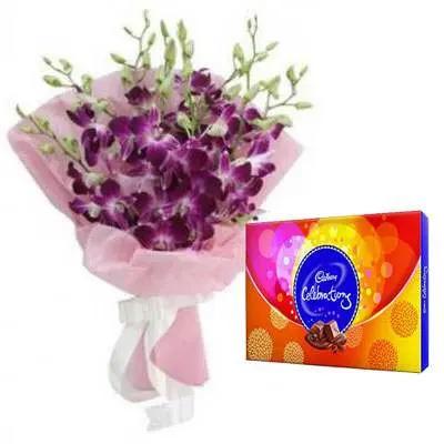 Purple Orchid Bouquet with Celebration