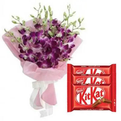Purple Orchid Bouquet with Kitkat