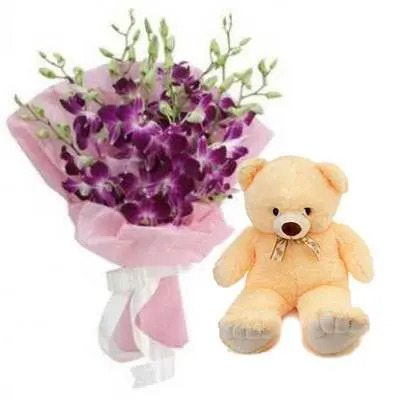 Purple Orchid Bouquet with Teddy Bear