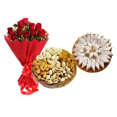 Red Roses with Kaju Katli & Mix Dry Fruits
