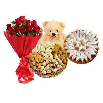 Red Roses, Kaju Katli, Teddy & Dry Fruits