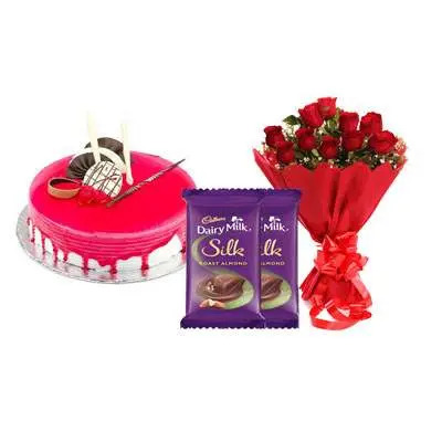 Strawberry Cake with Red Roses & Dairy Milk