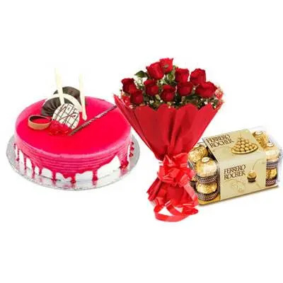 Strawberry Cake with Red Roses & Ferrero Rocher