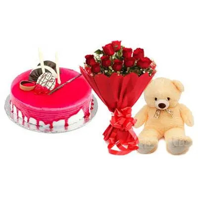 Strawberry Cake with Red Rose & Teddy