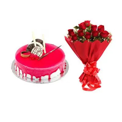 Strawberry Cake with Red Roses