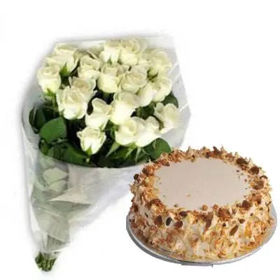 White Roses with Butter Scotch Cake