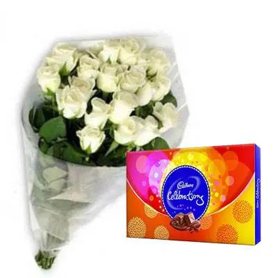 White Roses with Cadbury Celebration