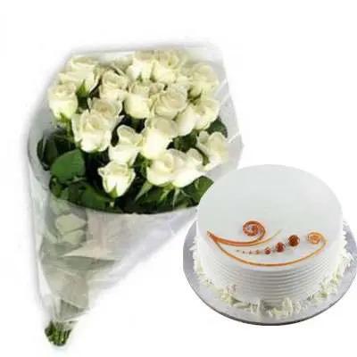 White Roses with Vanilla Cake