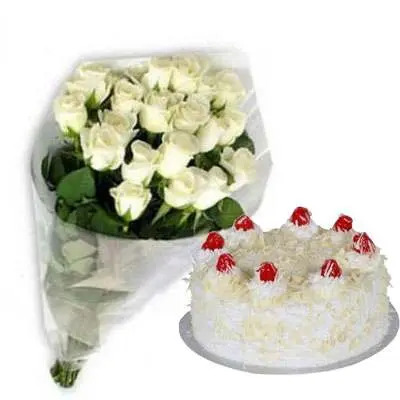 White Roses with White Forest Cake