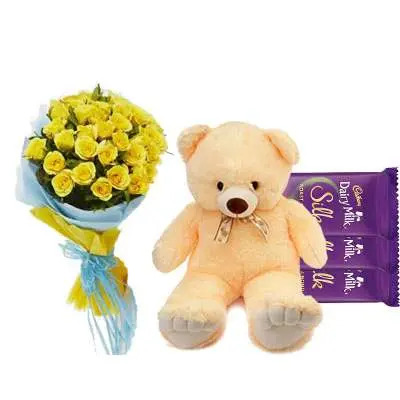 Yellow Roses with Dairy Milk & Teddy