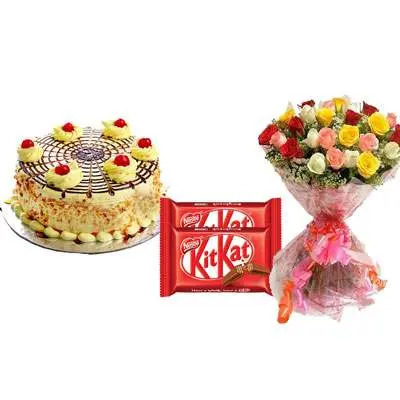 Butterscotch Cake with Mix Roses & Kitkat