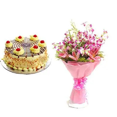Butterscotch Cake with Orchid