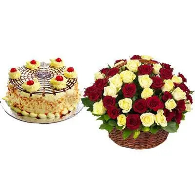 Butterscotch Cake With Red & White Roses Basket