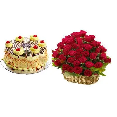 Butterscotch Cake With Red Roses Basket