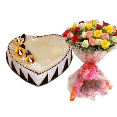 Heart Shape Butter Scotch Cake with Mixed Roses