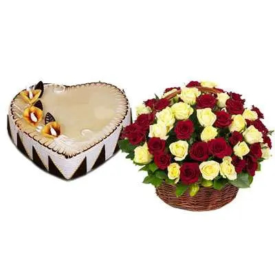 Heart Shape Butterscotch Cake with Red & White Roses