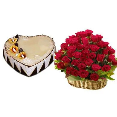 Heart Shape Butterscotch Cake with Red Rose Basket