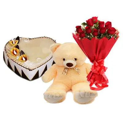 Heart Shape Butterscotch Cake with Roses & Teddy