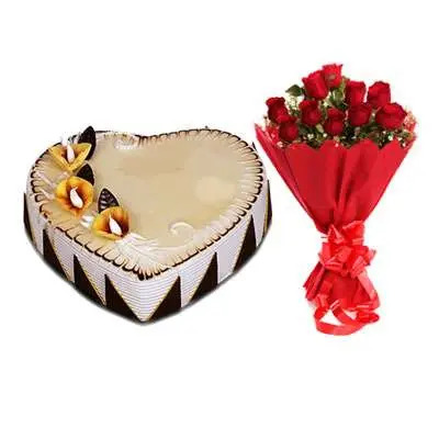 Heart Shape Butterscotch Cake with Red Rose Bouquet