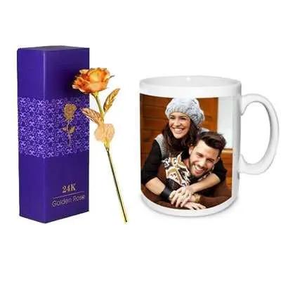 24K Golden Rose with Box & Photo Mug