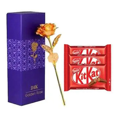 24K Golden Rose with Box & Kitkat