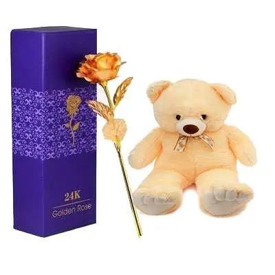 24K Golden Rose with Box & Teddy Bear