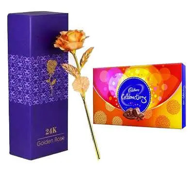 24K Golden Rose with Box & Cadbury Celebration
