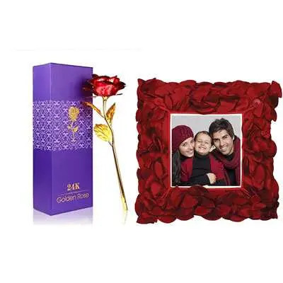 24K Red Rose with Box & Photo Cushion