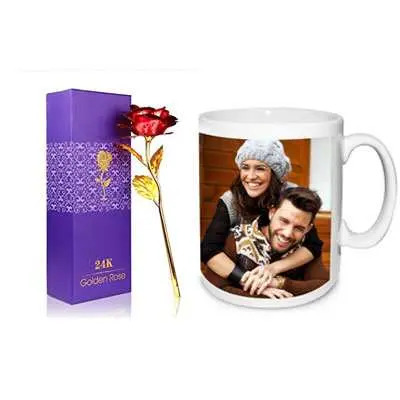 24K Red Rose with Box & Photo Mug