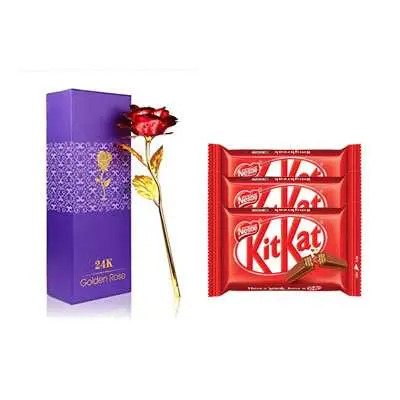 24K Red Rose with Box & Kitkat