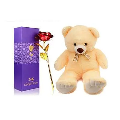 24K Red Rose with Box & Teddy Bear