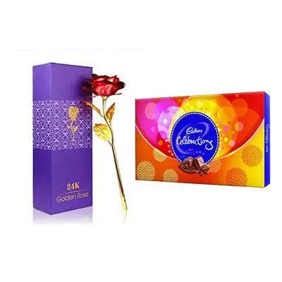 24K Red Rose with Box & Cadbury Celebration