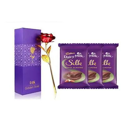 24K Red Rose with Box, Dairy Milk Silk