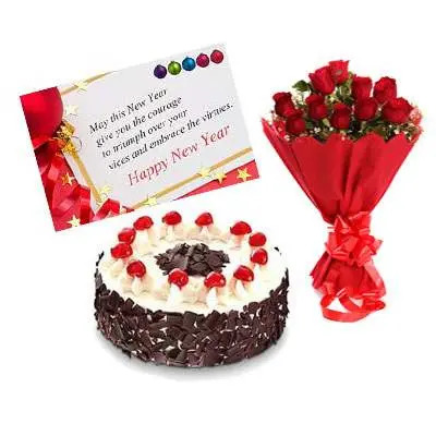 Bouquet, New Year Card & Black Forest Cake