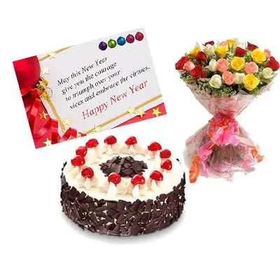 Mixed Roses, New Year Card & Black Forest Cake
