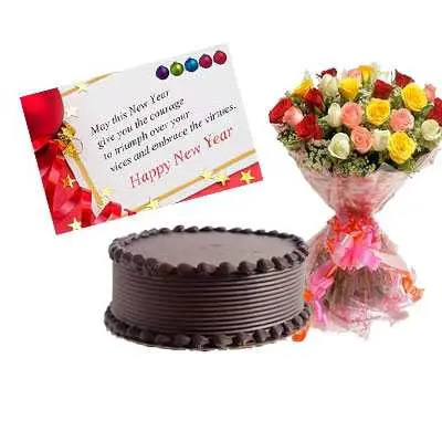 Mixed Roses, New Year Card & Chocolate Cake