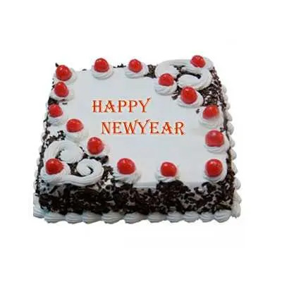 New Year Black Forest Square Cake