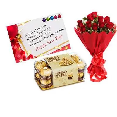 New Year Card, Red Roses & Ferrero Rocher