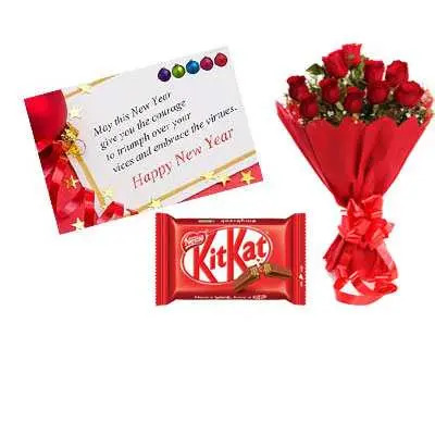 New Year Card, Red Roses & Kitkat