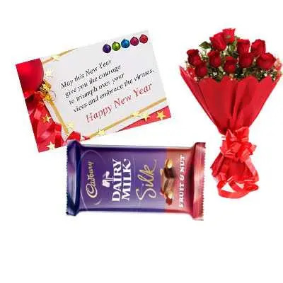 New Year Card, Red Roses & Dairy Milk Silk