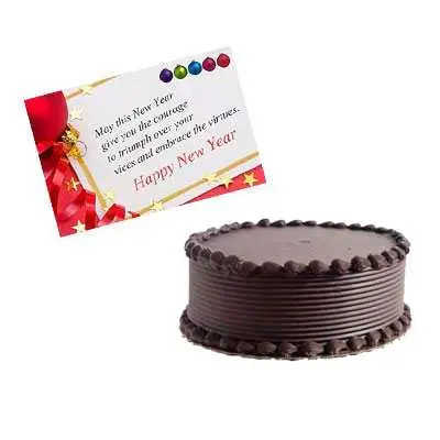 New Year Card with Chocolate Cake