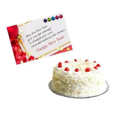 New Year Card with White Forest Cake