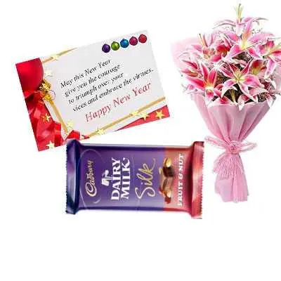 New Year Card with Lily Bouquet & Dairy Milk Silk