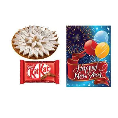 Kaju Burfi with New Year Card & Kitkat