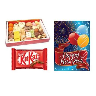 Mixed Sweets with New Year Card & Kitkat