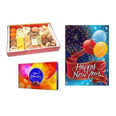 Mixed Sweets with New Year Card & Celebration