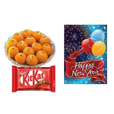 Laddu with New Year Card & Kitkat